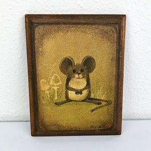 Vintage Wall Art - 🦚 VINTAGE Happy Mouse Mushroom Wood Rectangle Art